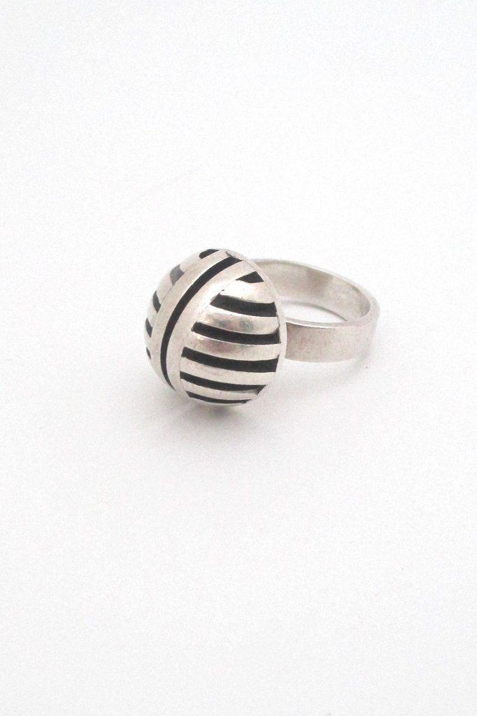 aarikka, Finland - vintage geometric heavy silver ring - 1967
