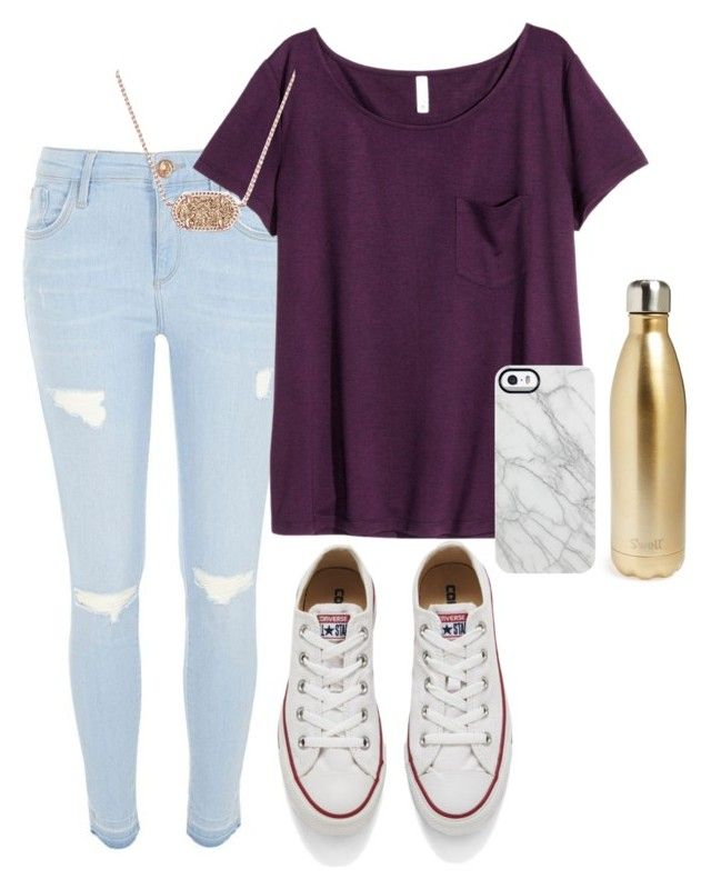 """Casual date"" by sadiepatton ❤ liked on Polyvore featuring River Island, H&M, Converse, Kendra Scott, S'well and Uncommon"