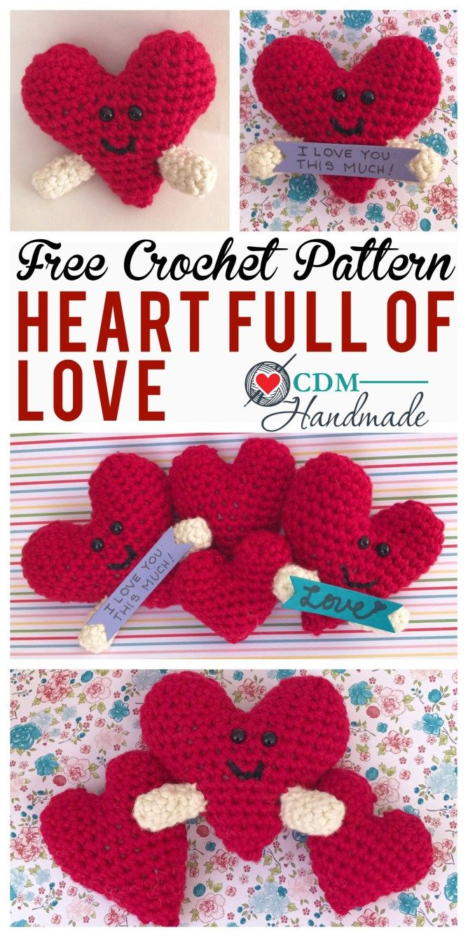 Valentines Day Free Crochet Pattern Hearts And Bows Pinterest