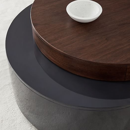 Stacked Disk Storage Coffee Table Walnut Anthracite In 2020