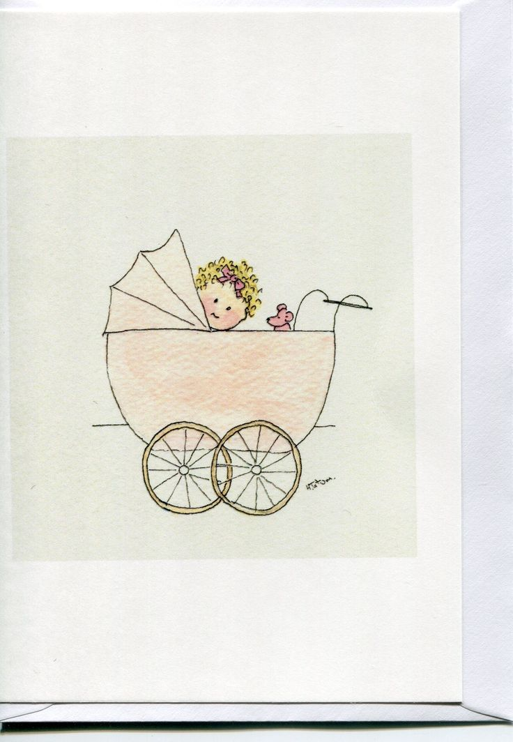 Baby girl in her pink pram, A baby card, handmade and printed from an original watercolour, by Heather Tatum Etsy  Folksy #baby  #baby cards  #baby girl  #pink pram https://www.etsy.com/uk/shop/HeatherTatumCards?ref=hdr_shop_menu