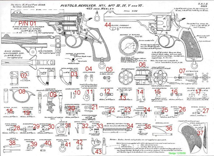 Webley Revolver Parts Diagram, REFERENCE ONLY, NOT FOR SALE
