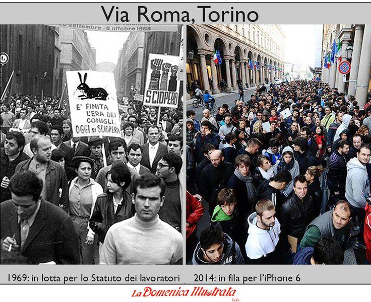 Torino, via Roma, autunno caldo, iPhone 6, Statuto dei lavoratori