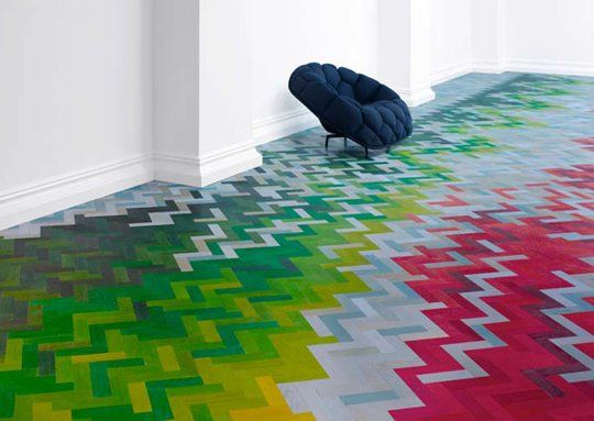 """Coloured Wood Flooring! *I* love it! """"Colored parquet has been trending for awhile now, and steadily growing. It's still mainly seen in restaurant and retail spaces, but I think a (possibly quieter, more toned down) version of this look could work for residential spaces, as well.""""  -5 examples :  )"""