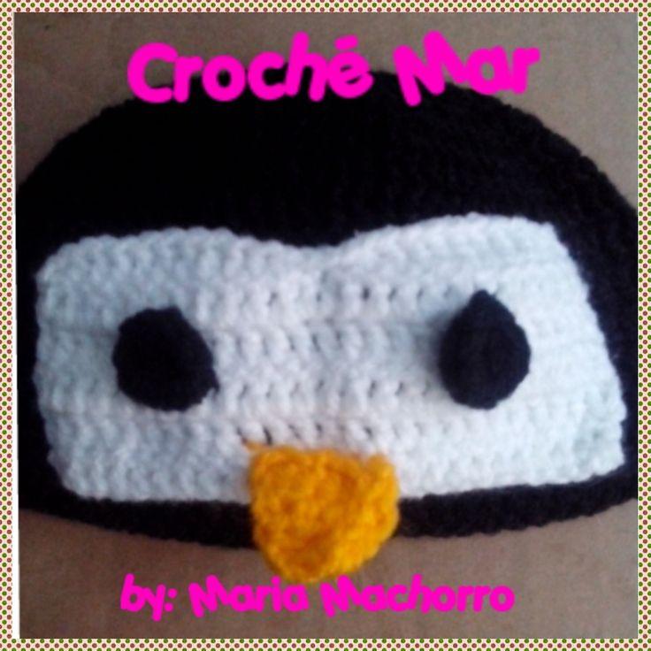 Gorro tejido de pingüino por Croche Mar