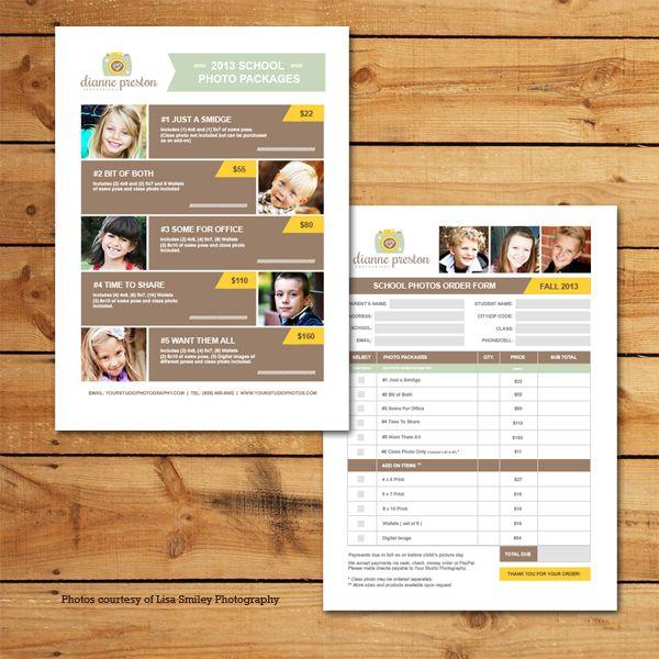 school photos pricing  u0026 order form template