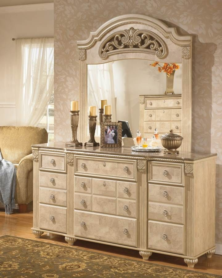 Saveaha Light Brown Wood Gl Dresser And Mirror