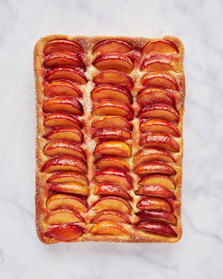 This subtly sweet yeasted cake topped with fresh peaches is a Baltimore staple. Martha made this recipe on episode 702 of Martha Bakes.