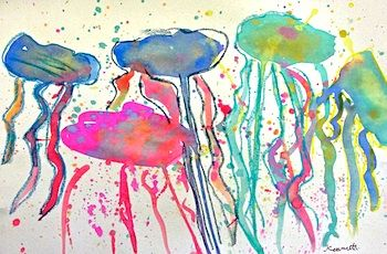 jellyfish watercolors to make with the boys