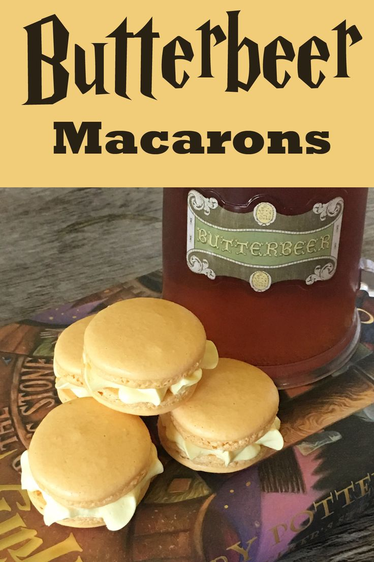We added Imitation Butter & Nut Flavoring in place of vanilla in a standard macaron recipe to create Butterbeer macarons for our Harry Potter party.