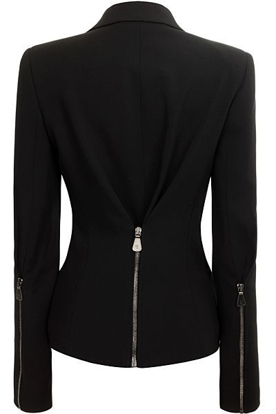 Chic tailored blazer with exposed zipper at back and on backs of sleeves.. DIY the look yourself: http://mjtrends.com/pins.php?name=zippers-for-blazers