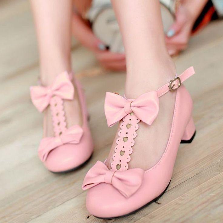 Западная рим стиль новый чистый высокие каблуки розовые туфли женщина круглым носком из натуральной кожи туфли на высоком каблуке мода сладкий bowties būklė женская обувь купить на AliExpress