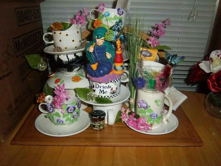 There's no instructions  I just took a bunch of tea cups and pots flowers and stickers and tea bags and jewels with wire and kind of crafted them and hot melt glue them all together