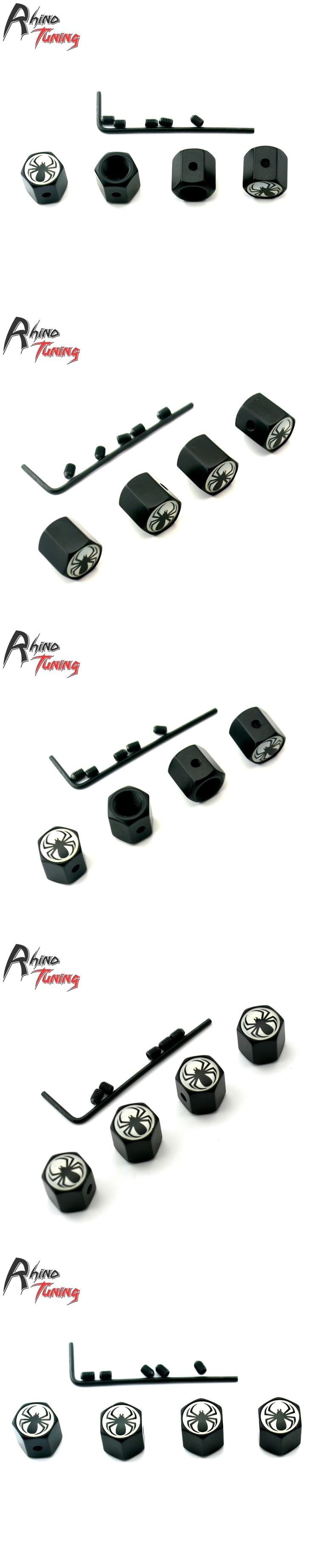 Rhino Tuning 4Pcs Spider Logo Auto Car Wheel Tyre Valve Caps Metal Fit for All Car Auto Tire Valve Dust Caps 075