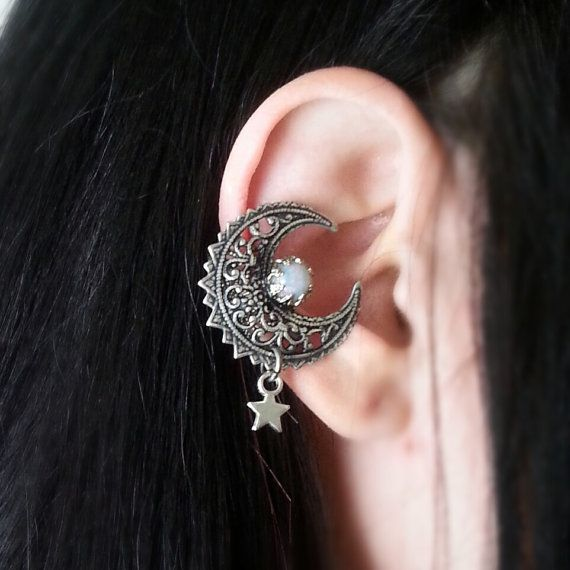 My Moon And Stars EAR CUFF Vintage Glass Opal and Star Charm Antique Silver Non Pierced Cuff Earrring No Post