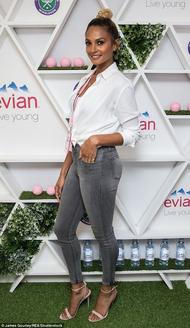 Keeping it simple: Alesha Dixon was enjoying the VIP experience behind the scenes at Wimbledon on Saturday