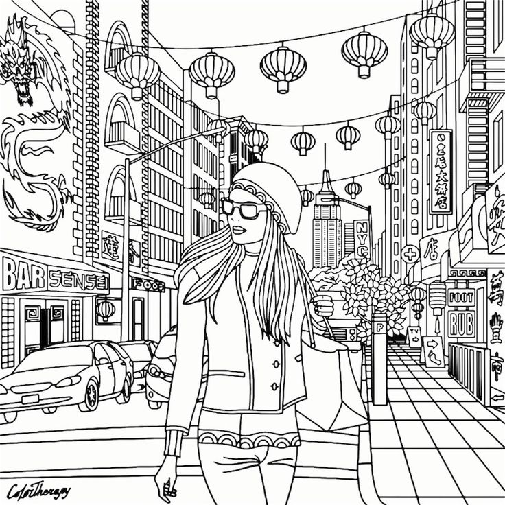 China Girl Recolor Coloring Pages For Adults