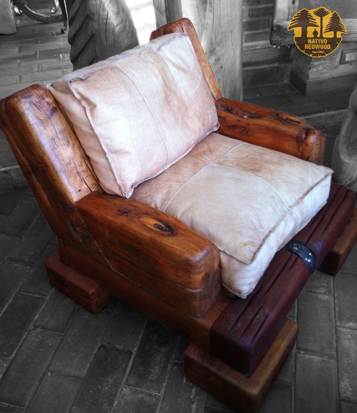 34 best sillones maderos linewood cuero images on for Sillones rusticos
