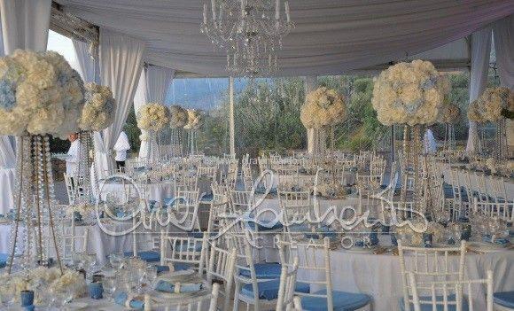 Matrimonio regale in costiera Sorrentina. La sala del pranzo nuziale raffinata e dai toni retrò. | Cira Lombardo Wedding Planner