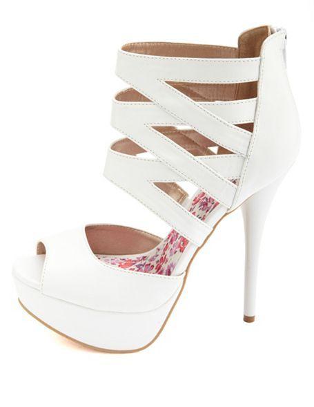 Caged Ankle Cuff Peep Toe Platform Heels: Charlotte Russe