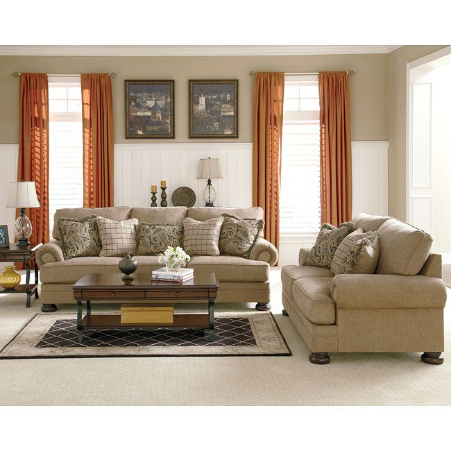 The Generously Scaled Keereel Sand Living Room Set By