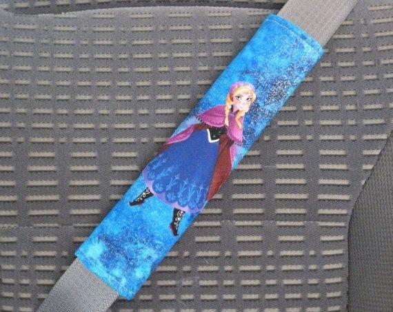 Seat Belt Cover Frozen Disney Anna Bright Shimmer Blue, Shoulder Pad, Refrigerator Handle, Tote Bag Handle, Reverse is Teal Blue Chevron on Etsy, $9.99