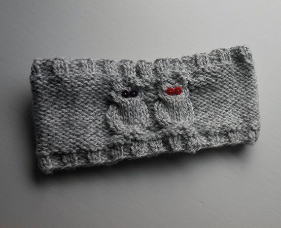 Owl Design Earwarmer - Headband - Grey and White Mix