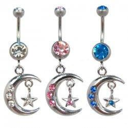 Crescent moon with star navel ring