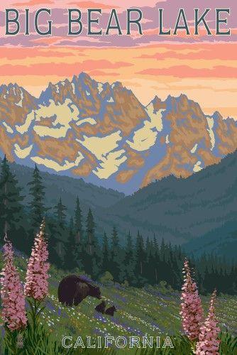 Big Bear Lake, California - Bears and Spring Flowers - Lantern Press Artwork (12x18 Art Print, Wall Decor Travel Poster)