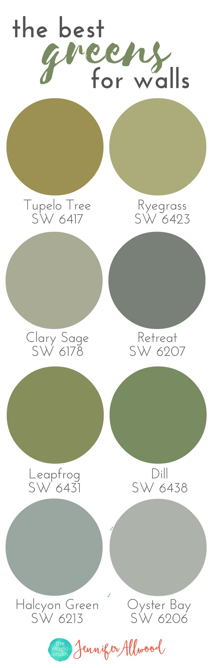 Best greens for walls | Paint Color Ideas | Farmhouse Greens | Interior Paint Ideas | Professional Wall Color Advice from Jennifer Allwood of the MagicBrushinc.com