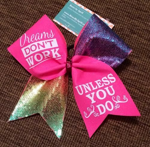 Bows by April Express - Dreams Don't Work Unless You Do Neon Pink Glitter and Rainbow Sequins Cheer Bow, $19.00 (http://www.bowsbyaprilexpress.com/dreams-dont-work-unless-you-do-neon-pink-glitter-and-rainbow-sequins-cheer-bow/)