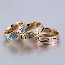 Emalia Pierścień Vintage Luksusowa Marka Biżuteria Obrączki Złota Ze Stali Nierdzewnej Wypełnione Pierścionki Zaręczynowe Dla Kobiet Party Pierścień Ceramiczny(China (Mainland))