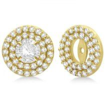 Double Halo Diamond Earring Jackets for 9mm Studs 14k Yellow Gold (0.85ct)