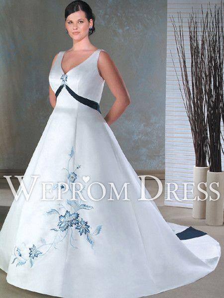 favorito Tallas grandes Bordado Blanco Sin Mangas Natural Escote en V vestidos de novia para gorditas -wepromdresses.com