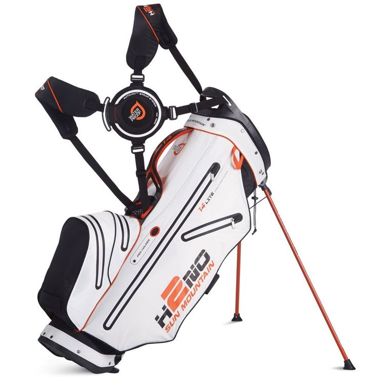 With high-quality YKK zippers and sealed seams these mens 2015 H2NO 14 way waterproof golf stand bags by Sun Mountain also feature five pockets and waterproof fabrics