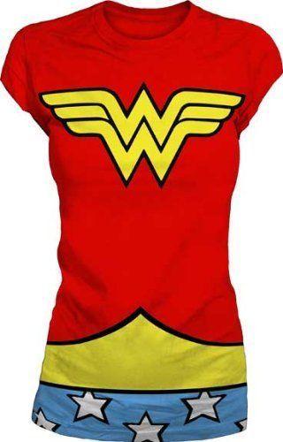 Dc-Comics-Mulher-Maravilha-Fantasia-de-logotipo-vermelho-Camiseta-Juniors