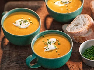 Roast pumpkin soup You'll find lots of different types of pumpkin. For the creamiest and tastiest soup, try nutty-flavoured Jap, golden Queensland blue or sweet butternut varieties.