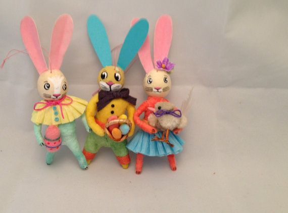 3 Spun cotton rabbit ornaments remade from by Spuncottonsupply