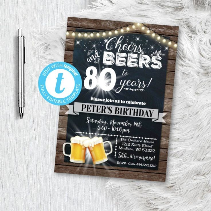 80th Birthday invitation for men Cheers and Beers