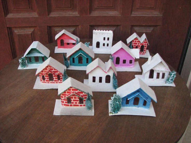 Putz Houses, Putz House Set, Vintage Christmas Decorations, Midcentury Christmas, Made in Japan by AngelsVintageDreams on Etsy
