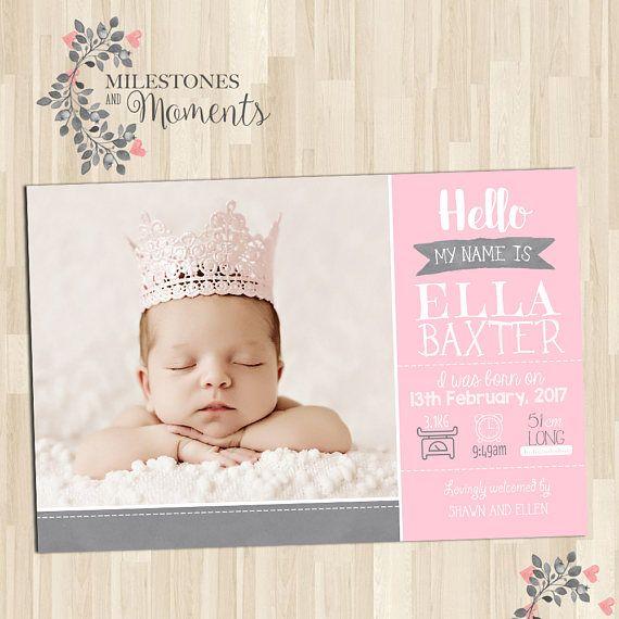 Photo Birth Announcement  Baby Birth Announcement  Baby