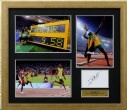 Usain Bolt - Limited Edition      This signed photo montage celebrates Usain Bolt's Olympic and World Record in the 100m and 200m and is limited in edition to just 50 worldwide   £395.00