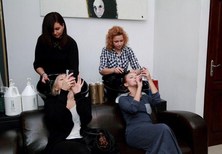 Girls in hair salon