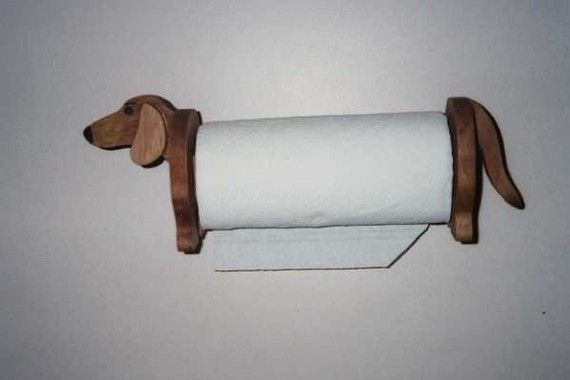 Dachshund paper towel holder handcrafted by Waltsworkshop on Etsy, $35.00