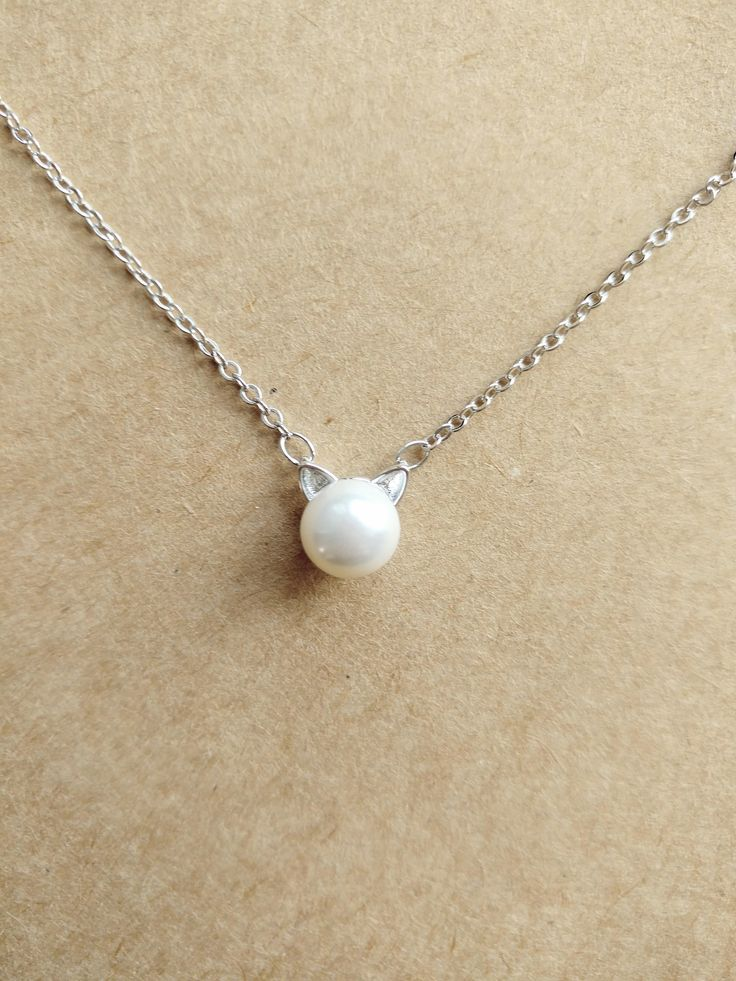 925 Sterling Silver Faux Pearl with Cat Ears Necklace by ThoughtsAccessories on Etsy