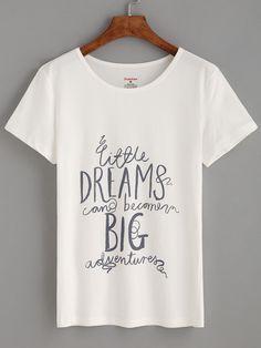 Camiseta letras estampadas - blanco