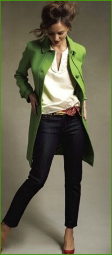 the red shoes make this outfit. The green jacket adds a bunch