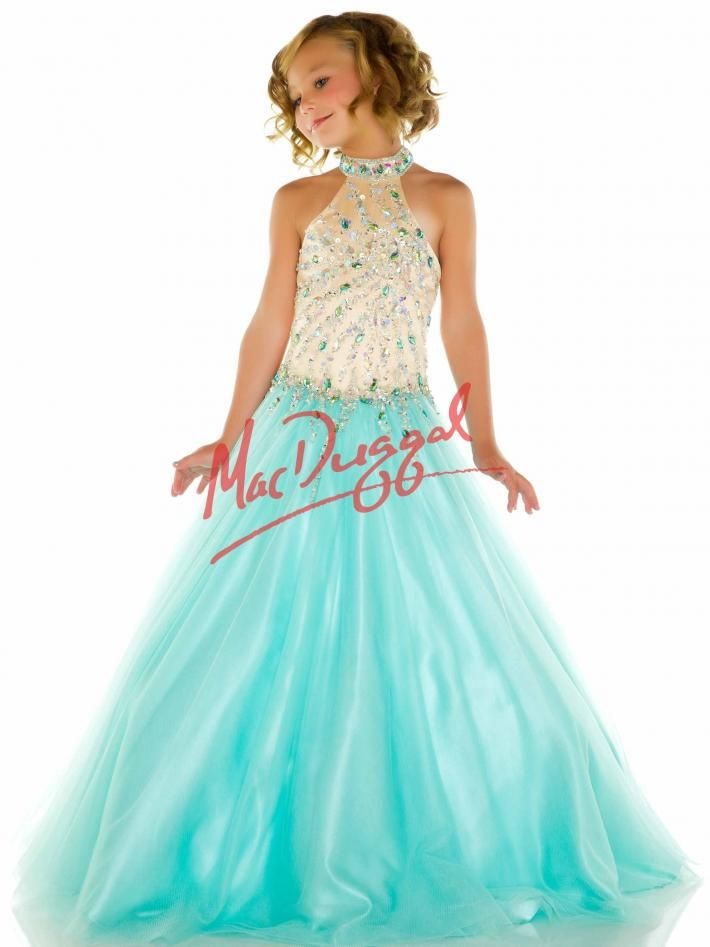 High Collar Aqua Little Girls Pageant Dress | Mac Duggal 82211S