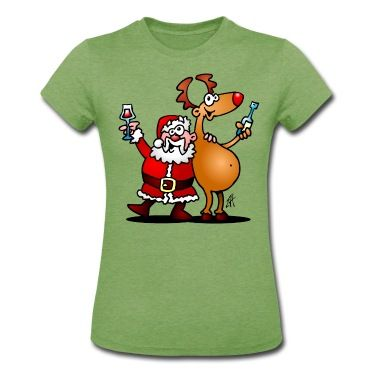Santa Claus and his reindeer raise their glasses of wine to wish everyone a Merry Christmas. T-Shirt design by #Cardvibes. #Spreadshirt #SOLD