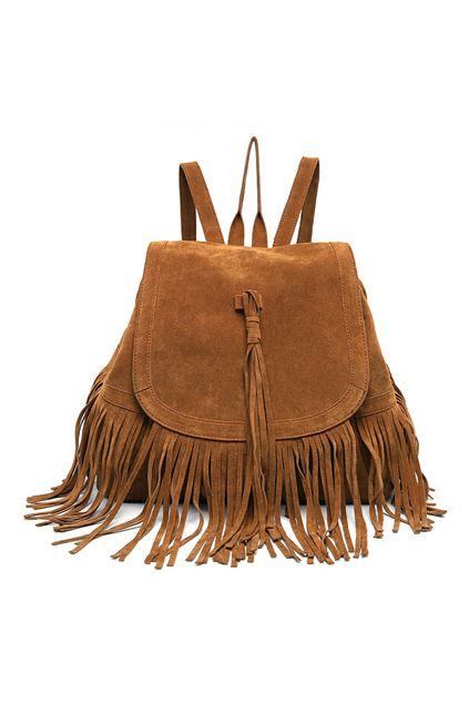 Tassel backpack  #braun #brown #velours
